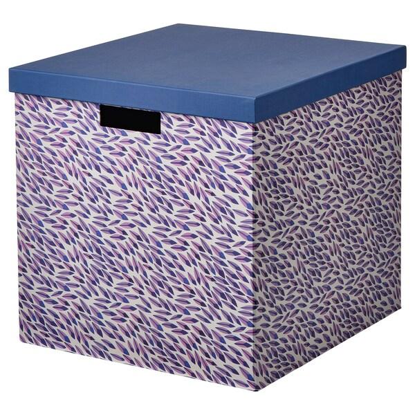 TJENA Scatola con coperchio, blu/lilla/fantasia, 32x35x32 cm