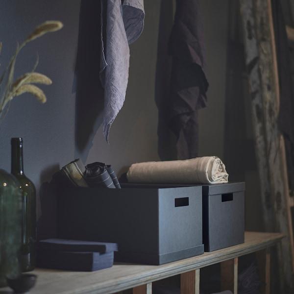 TJENA scatola con coperchio nero 35 cm 25 cm 20 cm