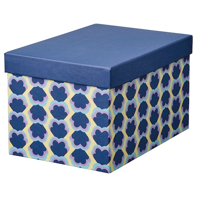 TJENA scatola con coperchio blu/fantasia 25 cm 18 cm 15 cm