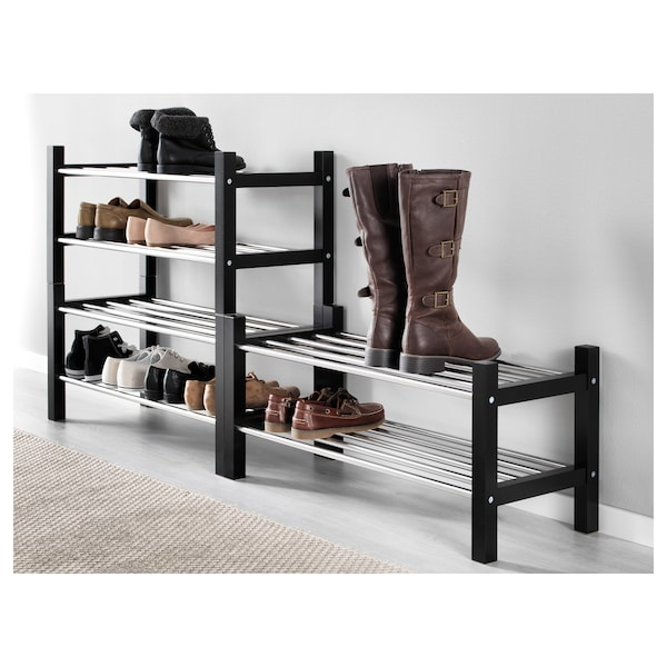 TJUSIG Rastrelliera per scarpe, nero, 79x32x37 cm