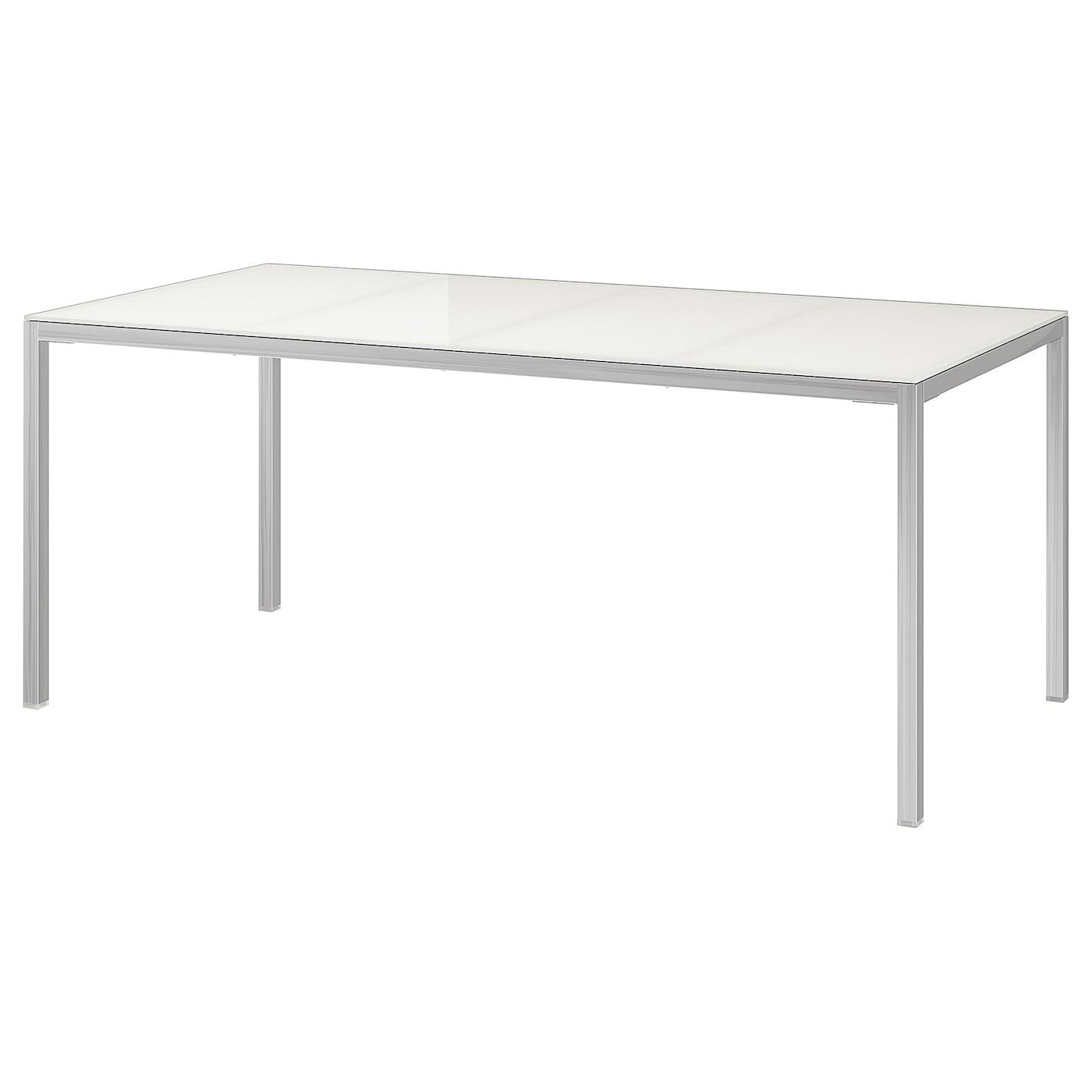 Dimensioni Tavolo Pranzo 12 Persone torsby tavolo - cromato, vetro bianco 180x85 cm