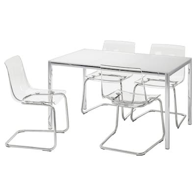TORSBY / TOBIAS Tavolo e 4 sedie, vetro bianco/trasparente, 135 cm