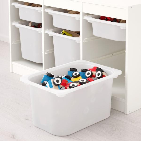 TROFAST Combinazione con contenitori, bianco/grigio, 99x44x56 cm