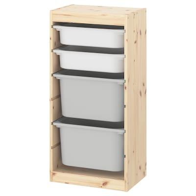 TROFAST Combinazione con contenitori, pino mordente bianco chiaro bianco/grigio, 44x30x91 cm