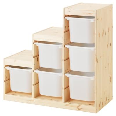 TROFAST Combinazione di mobili, pino mordente bianco chiaro/bianco, 94x44x91 cm