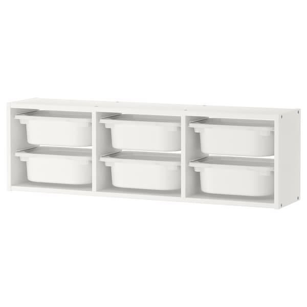TROFAST Elemento da parete, bianco/bianco, 99x21x30 cm