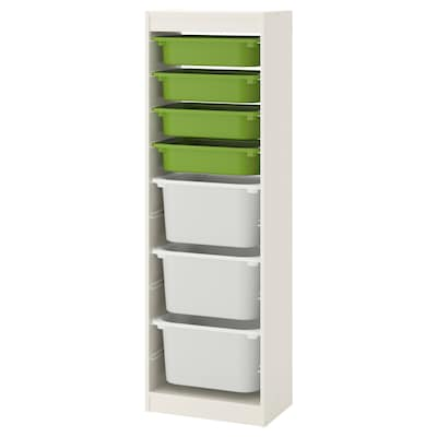 TROFAST combinazione con contenitori bianco/verde bianco 46 cm 30 cm 145 cm