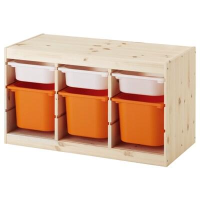 TROFAST combinazione con contenitori pino mordente bianco chiaro bianco/arancione 94 cm 44 cm 52 cm
