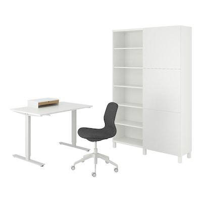 TROTTEN/LÅNGFJÄLL / BESTÅ/LAPPVIKEN Scrivania/elemento contenitore, e sedia girevole bianco/grigio