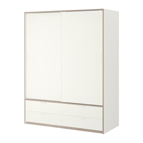 Trysil guardaroba ante scorrev 4 cassetti bianco grigio for Guardaroba ante scorrevoli ikea