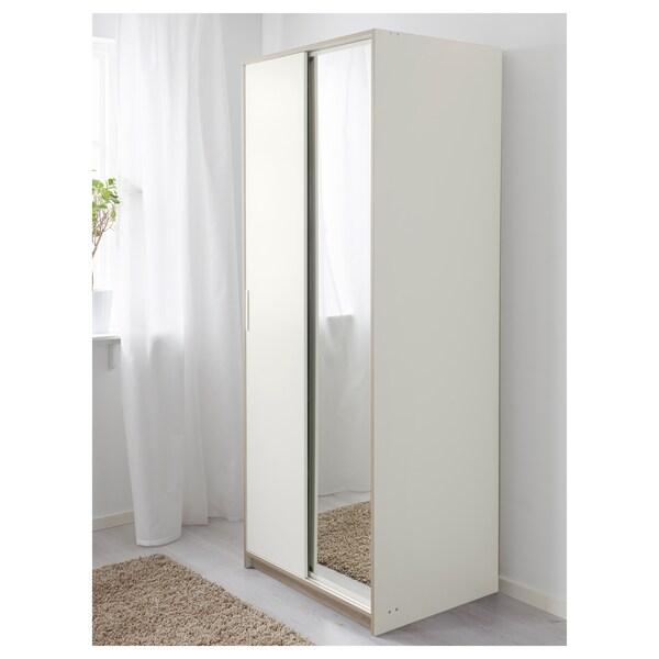 TRYSIL Guardaroba, bianco/vetro a specchio, 79x61x202 cm