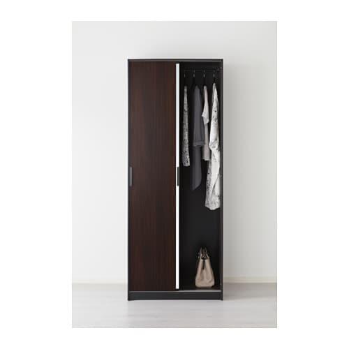 TRYSIL Guardaroba, marrone scuro, specchio