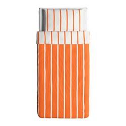 TUVBRÄCKA Copripiumino e 2 federe, arancione, bianco - Sottocosto IKEA Torino