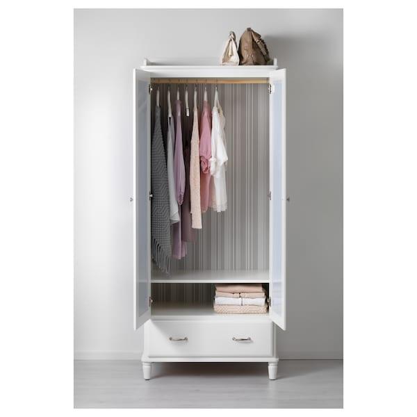 TYSSEDAL Guardaroba, bianco/vetro a specchio, 88x58x208 cm