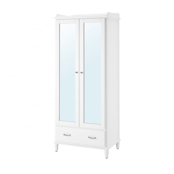 Ikea Catalogo Armadio Guardaroba.Tyssedal Guardaroba Bianco Vetro A Specchio 88x58x208 Cm Ikea
