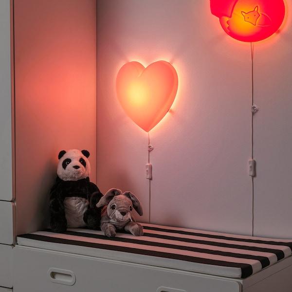 UPPLYST Lampada da parete a LED, cuore rosa