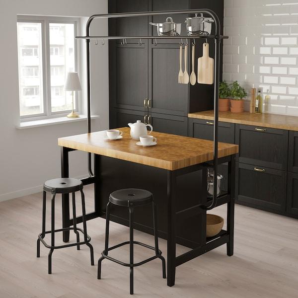 VADHOLMA Isola cucina con rastrelliera, nero/rovere, 126x79x193 cm