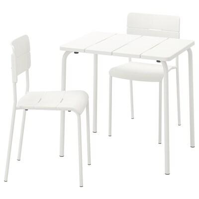VÄDDÖ tavolo+2 sedie da giardino bianco