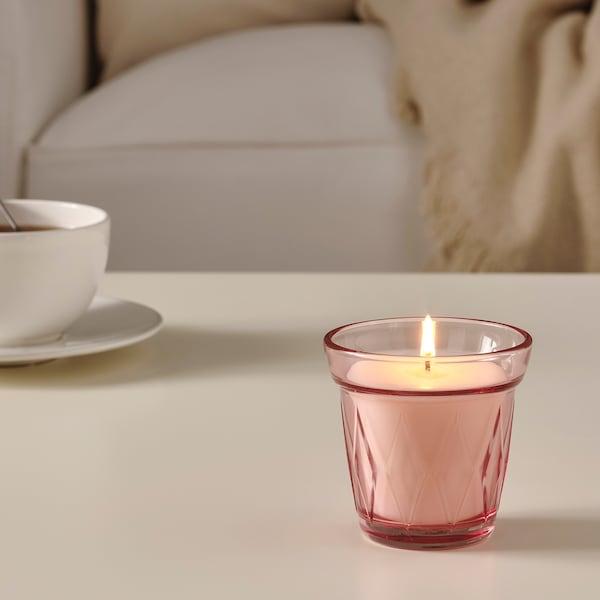 VÄLDOFT Candela profumata con vetro, fragola di bosco/rosa scuro, 8 cm