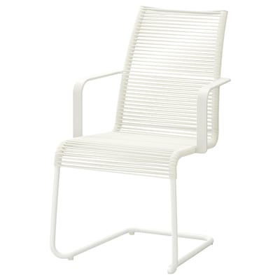 VÄSMAN Sedia con braccioli da giardino, bianco