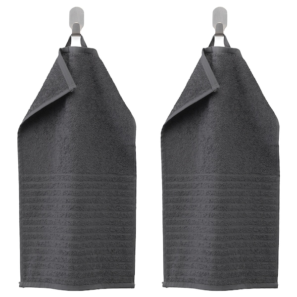 VÅGSJÖN Asciugamano ospite, grigio scuro, 30x50 cm