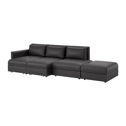 VALLENTUNA Divano a 4 posti con letto - Murum nero - IKEA