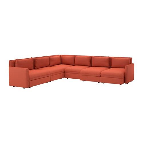 VALLENTUNA Divano angolare a 6 posti - Orrsta arancione - IKEA