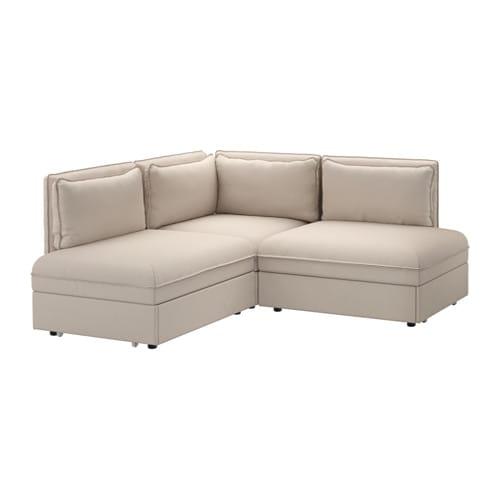 VALLENTUNA Divano angolare a 3 posti con letto - Orrsta beige - IKEA