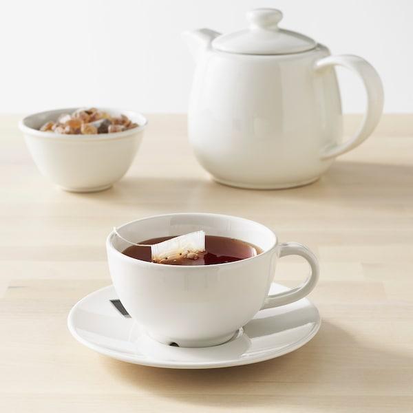 VARDAGEN Tazza da tè con piattino, bianco sporco, 26 cl