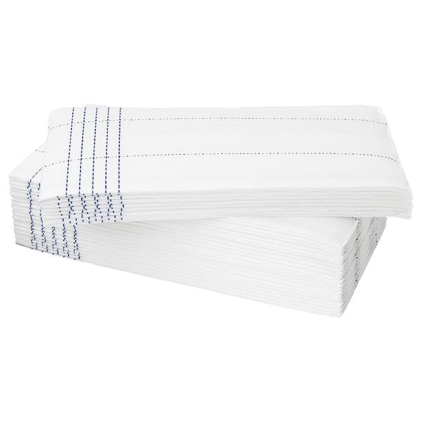 VERKLIGHET Tovagliolo di carta, bianco/blu, 38x38 cm