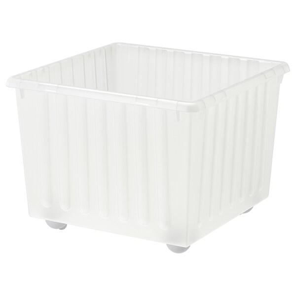 VESSLA Contenitore con rotelle, bianco, 39x39 cm