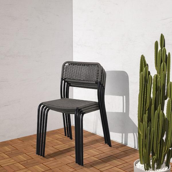 VIHOLMEN Sedia da giardino, grigio scuro