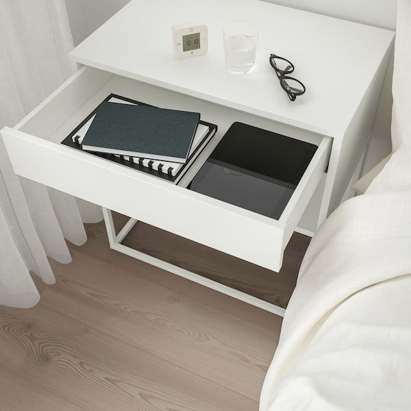 VIKHAMMER Comodino, bianco, 60x39 cm
