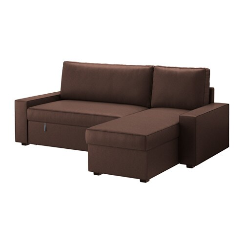 Vilasund divano letto con chaise longue borred marrone - Ikea divano chaise longue ...