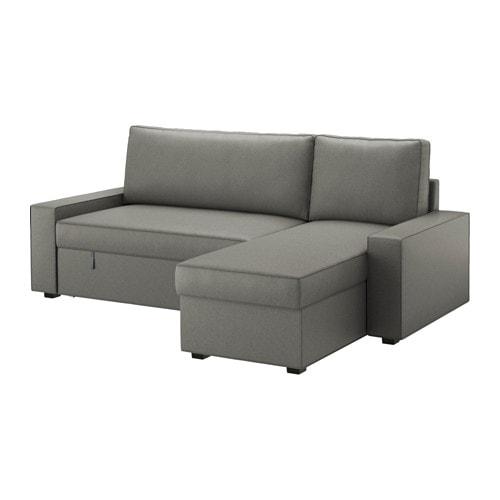 VILASUND Divano letto con chaise-longue - Borred grigio-verde - IKEA