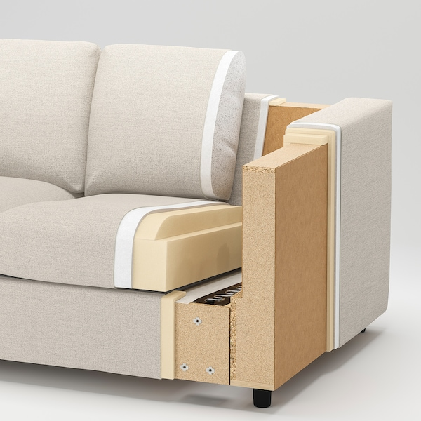 VIMLE divano a 3 posti con chaise-longue/Gunnared grigio fumo 83 cm 68 cm 164 cm 252 cm 98 cm 125 cm 6 cm 15 cm 68 cm 222 cm 55 cm 48 cm