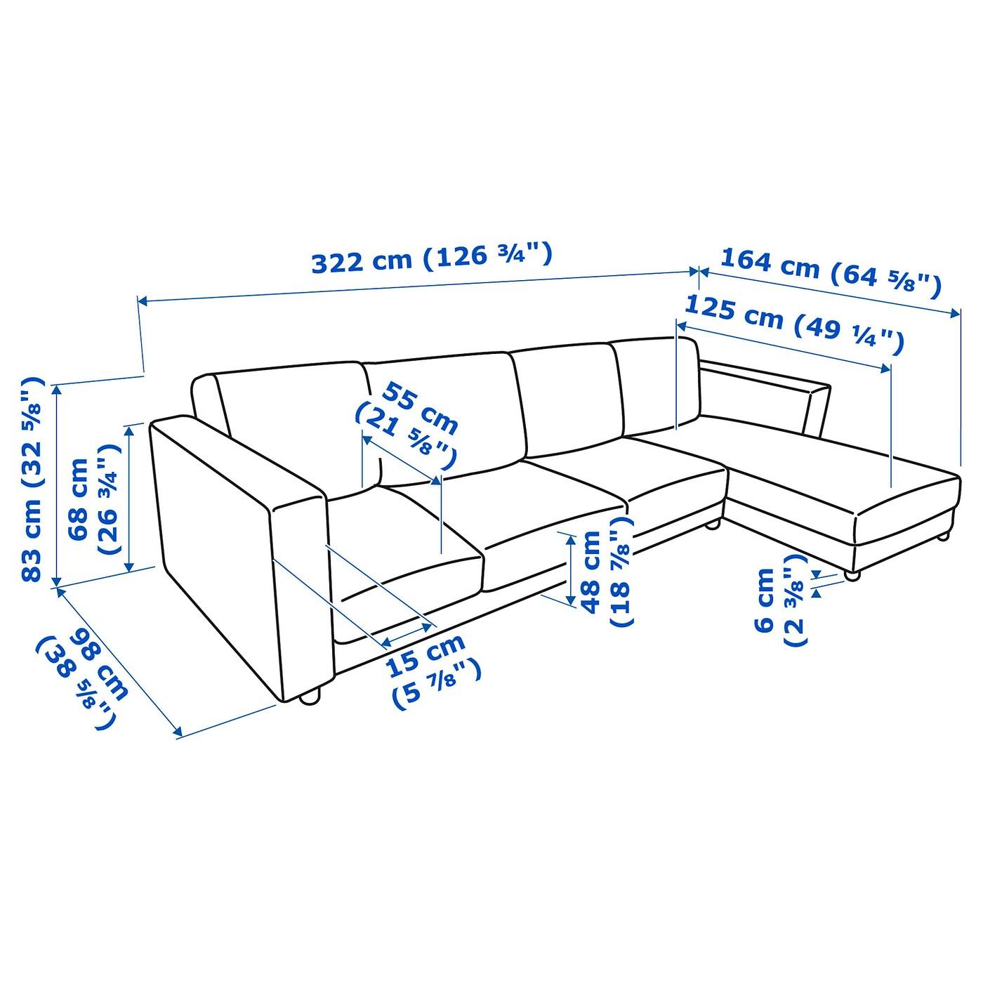 Divano 4 Posti Dimensioni.Vimle Divano A 4 Posti Con Chaise Longue Gunnared Beige Ikea