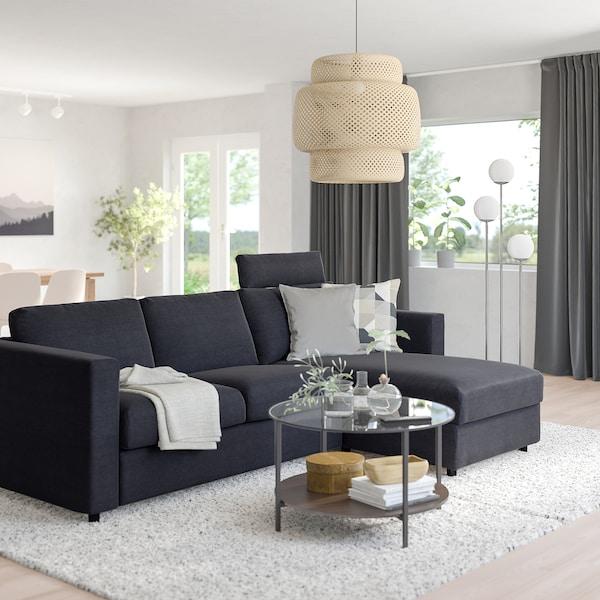VIMLE Divano a 3 posti con chaise-longue, con poggiatesta Saxemara/blu-nero