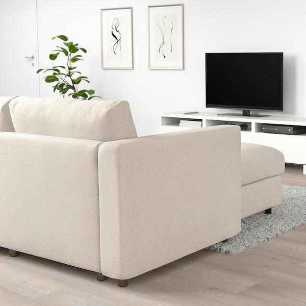 VIMLE Divano a 3 posti, con chaise-longue/Gunnared beige