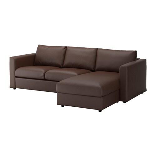 Vimle divano a 3 posti con chaise longue farsta marrone - Ikea divano chaise longue ...