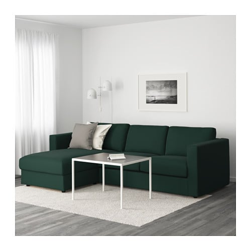 Vimle divano a 3 posti con chaise longue gunnared verde - Divano verde ikea ...