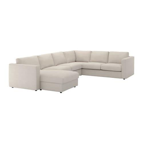 VIMLE Divano angolare a 5 posti - con chaise-longue/Gunnared beige ...