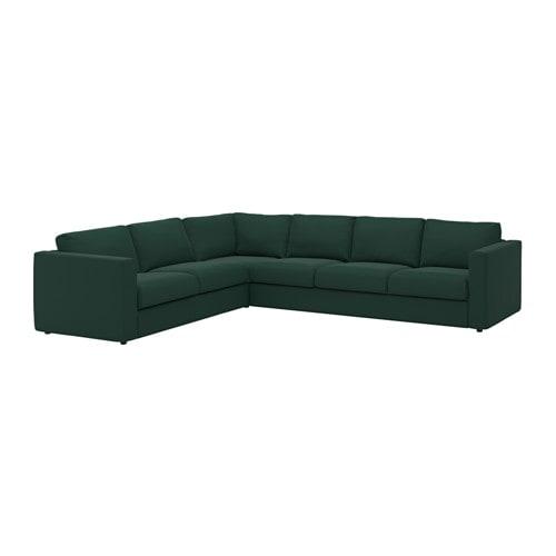 VIMLE Divano angolare a 5 posti - Gunnared verde scuro - IKEA