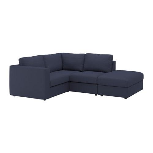 Vimle divano angolare a 3 posti con terminale aperto orrsta blu nero ikea - Divano 3 posti ikea ...