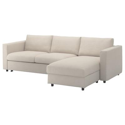 VIMLE Divano letto 3 posti/chaise-longue, Gunnared beige