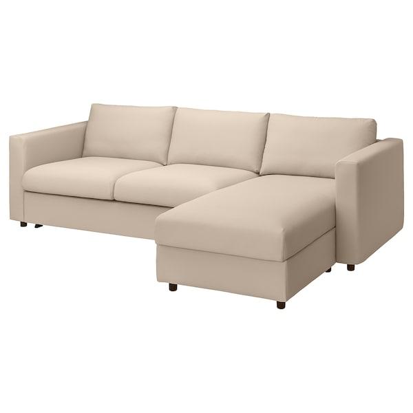 VIMLE Divano letto 3 posti/chaise-longue, Hallarp beige