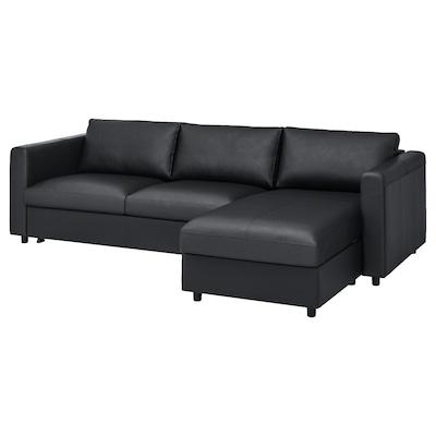 VIMLE Divano letto a 3 posti, con chaise-longue/Grann/Bomstad nero