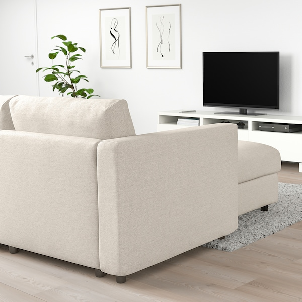 VIMLE Divano letto ang 5 posti/chaise-lon, Gunnared beige