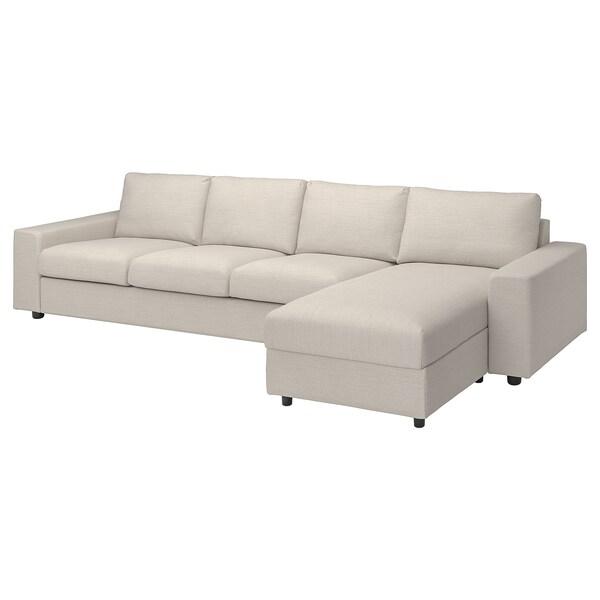 VIMLE Fodera divano 4 posti/chaise-longue, con braccioli larghi/Gunnared beige