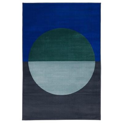 VINDERUP Tappeto, pelo corto, sfumature blu, 133x195 cm